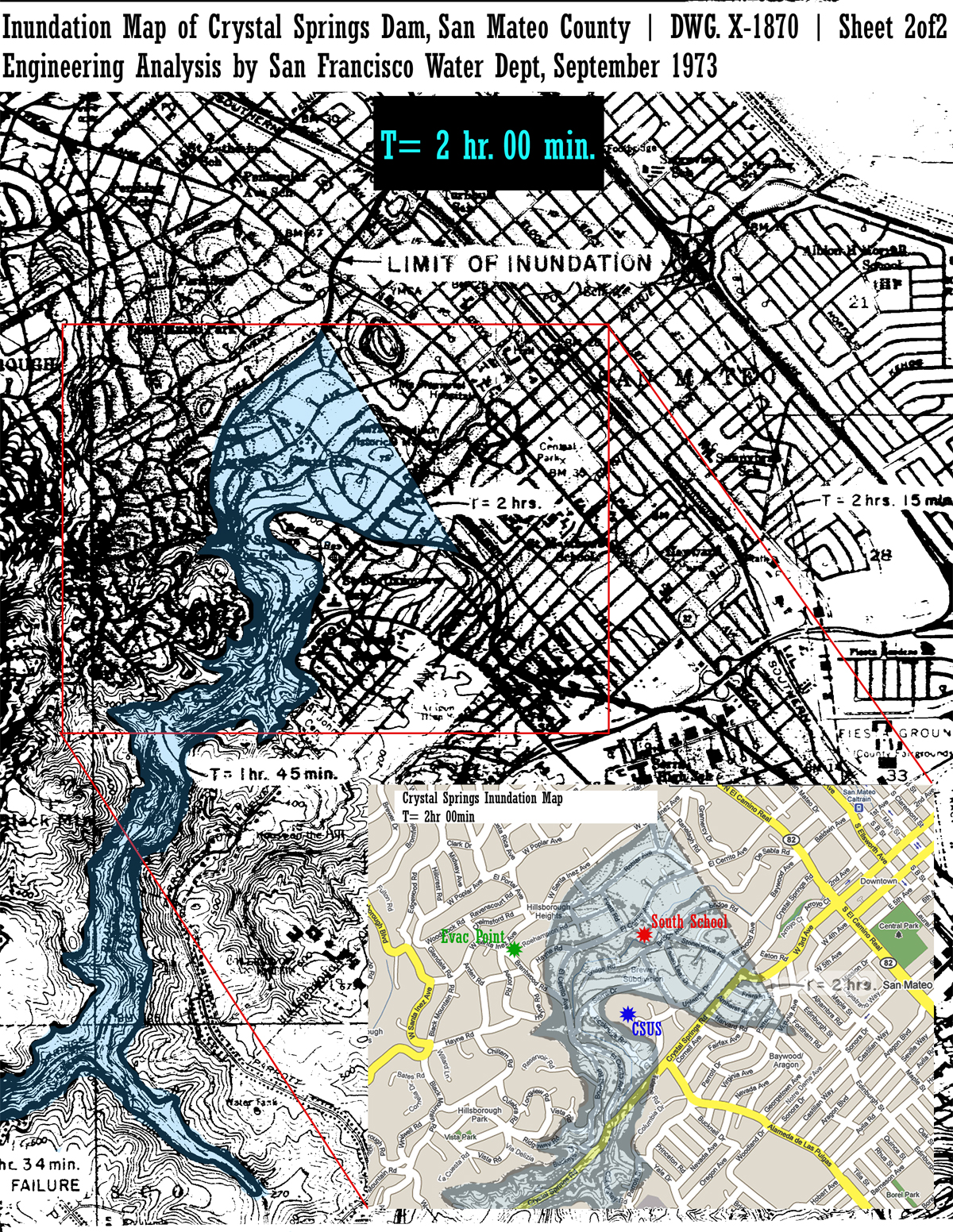 Crystal Springs Inundation Map South School Area